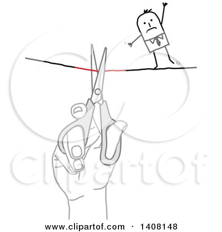 Hand Using Scissors to Cut a Tight Rope That a Stick Business Man Is Crossing Posters, Art Prints