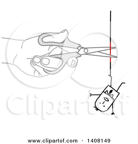 Clipart of a Hand Using Scissors to Cut a Rope That a Stick Business Man Is Hanging from - Royalty Free Vector Illustration by NL shop