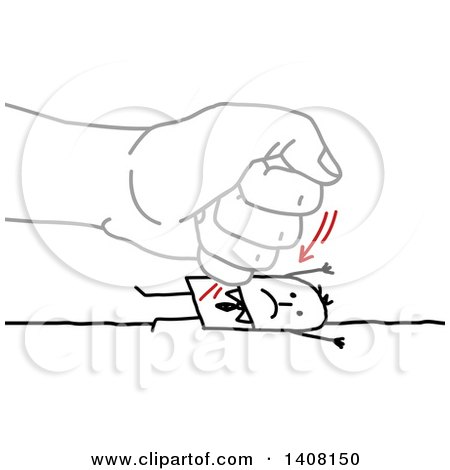 Gray Hand Punching a Stick Business Man into the Ground Posters, Art Prints