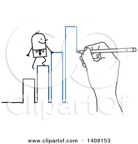 Hand Drawing a Stick Business Man Climbing a Bar Graph to Success Posters, Art Prints