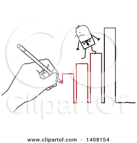 Clipart of a Hand Drawing a Stick Business Man Stepping down a Bar Graph to Failure - Royalty Free Vector Illustration by NL shop