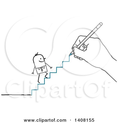 Hand Drawing a Stick Business Man Climbing Stairs Posters, Art Prints