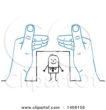 Pair of Blue Hands Protecting a Stick Business Man Posters, Art Prints
