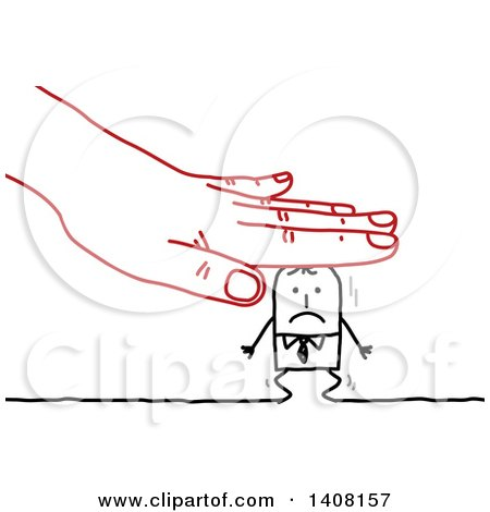 Red Hand Squishing a Stick Business Man Posters, Art Prints