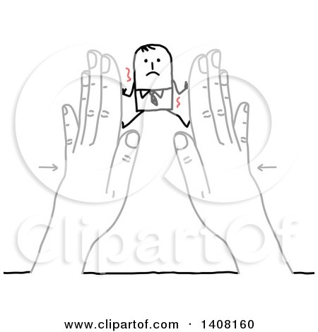 Stick Business Man Being Squished Between Hands Posters, Art Prints
