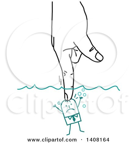 Clipart of a Hand Pushing a Small Stick Business Man Underwater - Royalty Free Vector Illustration by NL shop
