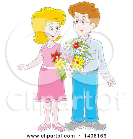 Clipart of a Happy Caucasian Couple Holding Flowers and Looking at Each Other - Royalty Free Vector Illustration by Alex Bannykh