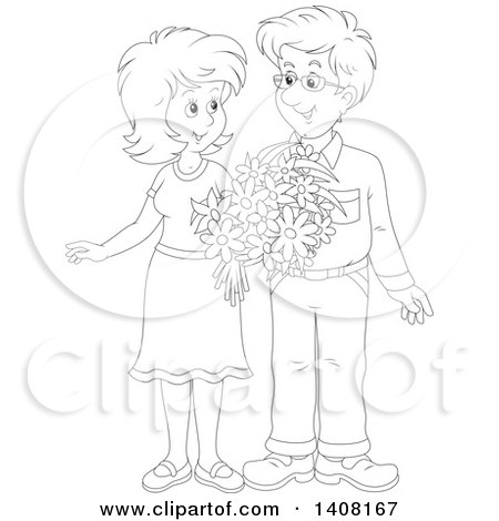 Clipart of a Black and White Lineart Happy Couple Holding Flowers and Looking at Each Other - Royalty Free Vector Illustration by Alex Bannykh