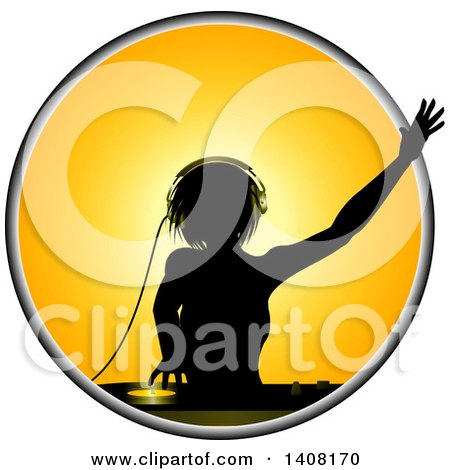 Clipart Of A Silhouetted Female Dj Over A Record Dack In A Yellow Circle Royalty Free Vector Illustration