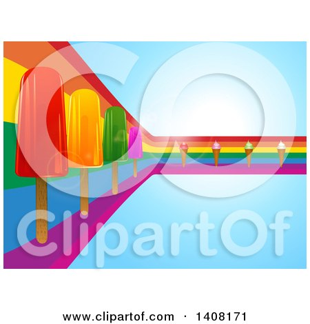 Clipart of a Rainbow Curve with Popsicles and Ice Cream Cones on Blue - Royalty Free Vector Illustration by elaineitalia