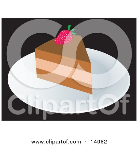Slice of Cake With a Strawberry Food Clipart Illustration by Rasmussen Images