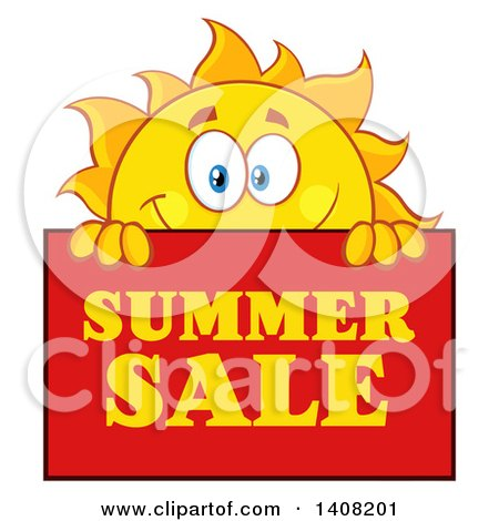 clipart of a yellow sun character mascot with a summer sale sign