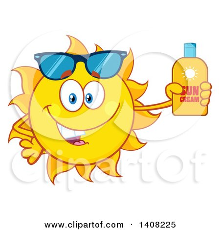 Clipart of a Yellow Summer Time Sun Character Mascot Holding a Bottle of Lotion - Royalty Free Vector Illustration by Hit Toon
