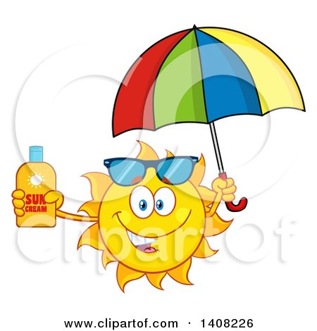 Clipart of a Yellow Summer Time Sun Character Mascot Holding a Bottle of Lotion and a Parasol - Royalty Free Vector Illustration by Hit Toon