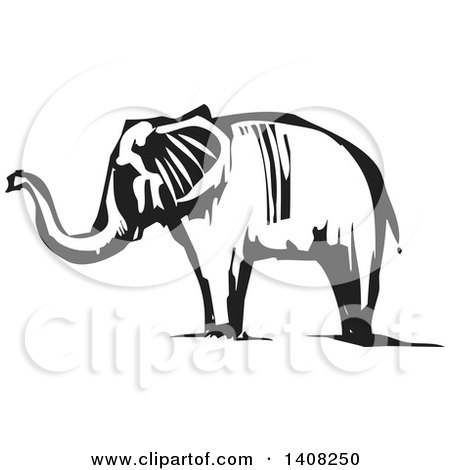 Clipart of a Black and White Woodcut Elephant - Royalty Free Vector Illustration by xunantunich