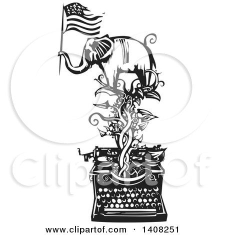 Black and White Woodcut Elephant Holding an American Flag on a Vine over a Typewriter Posters, Art Prints