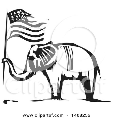 Clipart of a Black and White Woodcut Elephant Holding an American Flag - Royalty Free Vector Illustration by xunantunich