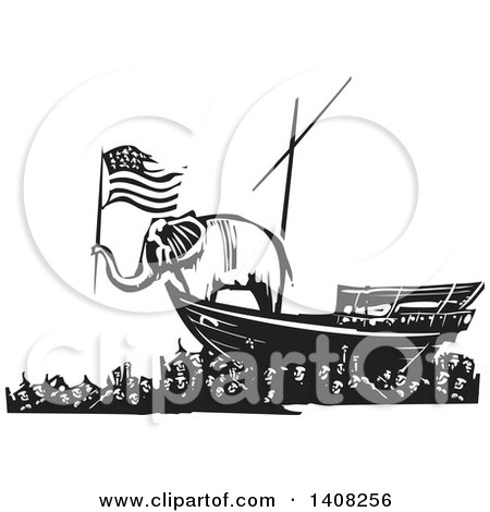Clipart of a Black and White Woodcut Republican Elephant Holding an American Flag on a Boat over People - Royalty Free Vector Illustration by xunantunich