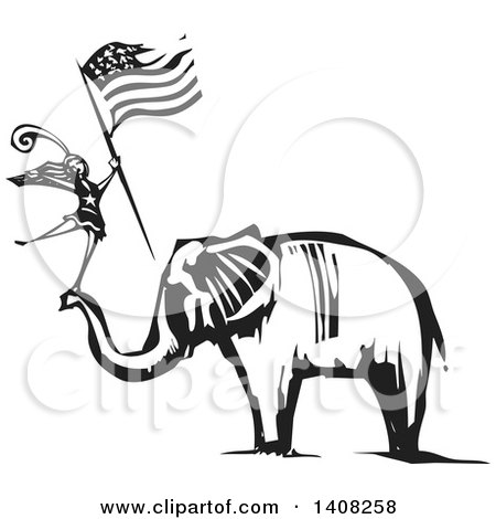 Clipart of a Black and White Woodcut Female Dancer Holding an American Flag and Standing on an Elephant's Trunk - Royalty Free Vector Illustration by xunantunich