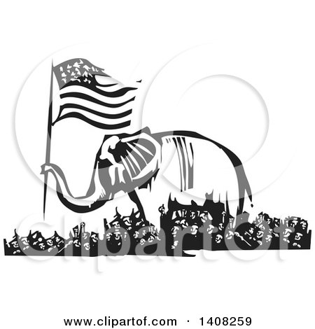 Clipart of a Black and White Woodcut Republican Elephant Holding an American Flag over a Rioting Crowd - Royalty Free Vector Illustration by xunantunich