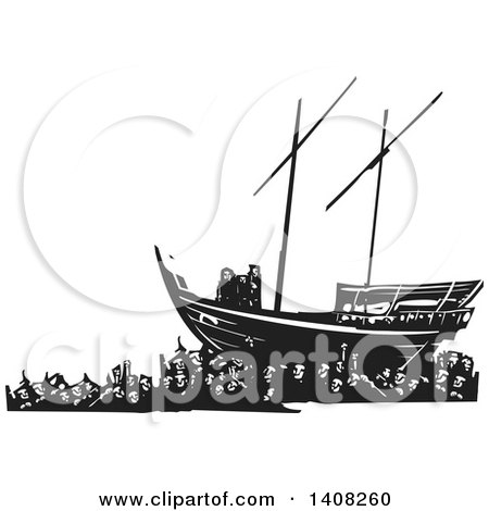 Clipart of a Black and White Woodcut Refugee Family on a Ship over a Crowd of People - Royalty Free Vector Illustration by xunantunich