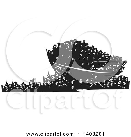 Clipart of a Black and White Woodcut Refugee Ship over a Crowd of People - Royalty Free Vector Illustration by xunantunich