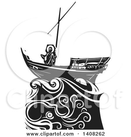 Clipart of a Black and White Woodcut Scene of Jesus Christ on a Ship in a Storm, Sea of Galilee - Royalty Free Vector Illustration by xunantunich