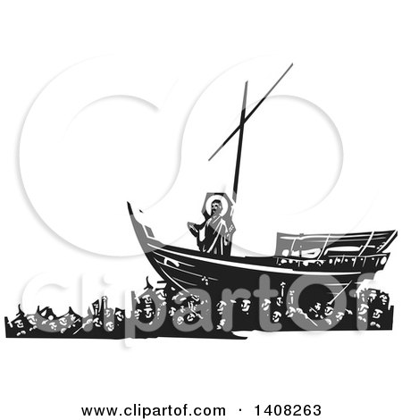 Clipart of a Black and White Woodcut Scene of Mankind Carrying Jesus Christ on a Ship - Royalty Free Vector Illustration by xunantunich