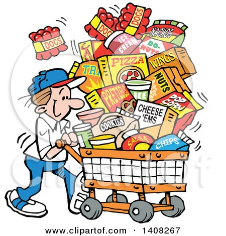 Clipart of a Cartoon Caucasian Man Grocery Shopping for Superbowl Sunday World Series, with a Cart Full of Snacks - Royalty Free Vector Illustration by Johnny Sajem