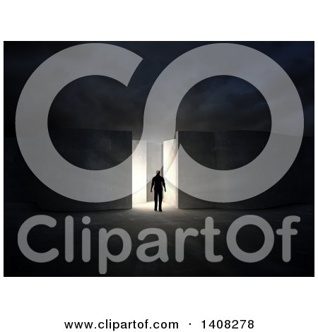 Clipart of a 3d Man Entering a Maze - Royalty Free Illustration by Mopic