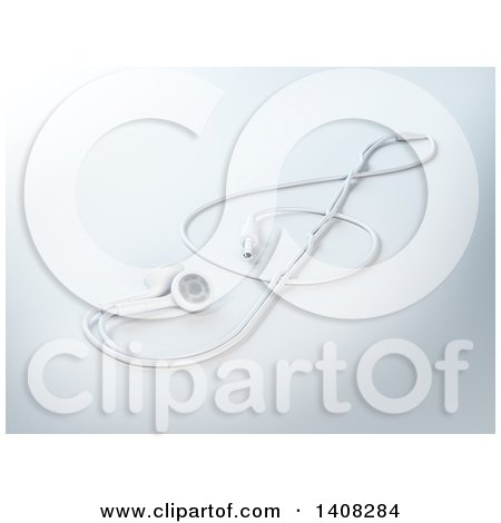 Clipart of 3d Earbuds in the Shape of a Music Clef - Royalty Free Illustration by Mopic