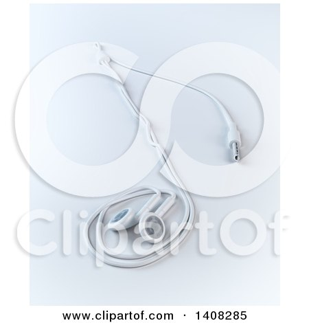 Clipart of 3d Earbuds in the Shape of a Music Note - Royalty Free Illustration by Mopic