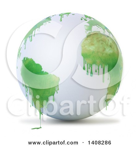 Clipart of a 3d White Earth Globe with Paint Dripping from Green Continents - Royalty Free Illustration by Mopic