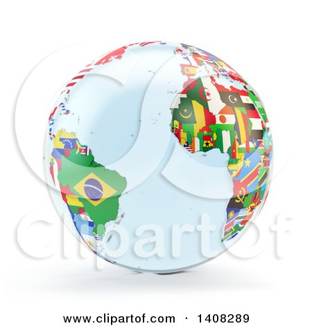 Clipart of a 3d Earth Globe with Continents Made of National Flags, Featuring the Atlantic Ocean - Royalty Free Illustration by Mopic