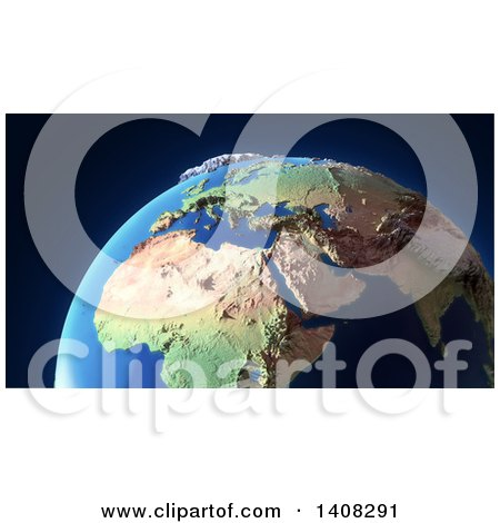 Clipart of a 3d Partial Earth Globe with Exaggerated Topological Features - Royalty Free Illustration by Mopic