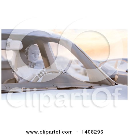 Clipart of a 3d Robot Driving a Car, Stuck in a Traffic Jam - Royalty Free Illustration by Mopic