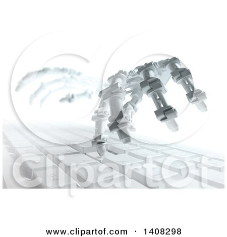 Clipart of a Pair of 3d Skeletal Robot Hands Typing on a Computer Keyboard - Royalty Free Illustration by Mopic
