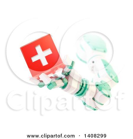 Clipart of a 3d Robotic Arm Holding a Medical Cube - Royalty Free Illustration by Mopic