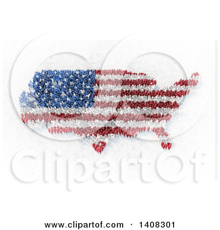 Clipart of a 3d Crowd of People Forming an American Flag and Usa Map - Royalty Free Illustration by Mopic