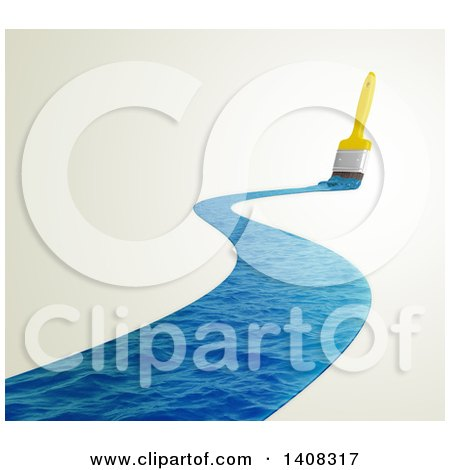 Clipart of a 3d Paintbrush Leaving a Stroke of Water - Royalty Free Illustration by Mopic