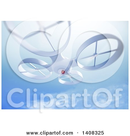 Clipart of a 3d UAV Quadrocopter Drone - Royalty Free Illustration by Mopic