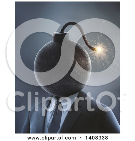 Clipart of a 3d Bomb Headed Business Man - Royalty Free Illustration by Mopic