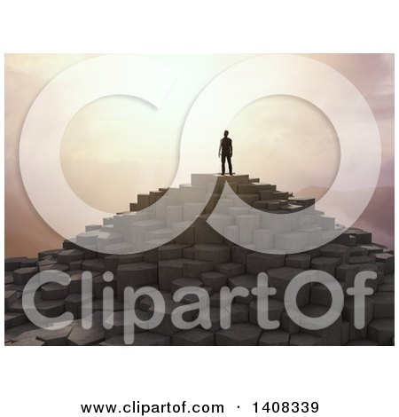 Clipart of a 3d Man Standing Atop a Rocky Mountain at Sunset - Royalty Free Illustration by Mopic