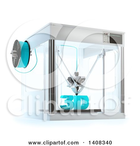 Clipart of a 3d Printer Machine with Text, on a White Background - Royalty Free Illustration by Mopic