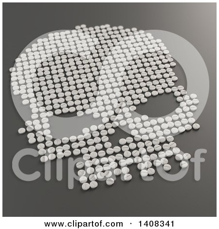 Clipart of a 3d Skull Formed of Pills - Royalty Free Illustration by Mopic