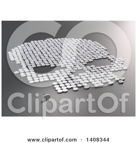 Clipart of a 3d Doctor by a Skull Formed of Pills - Royalty Free Illustration by Mopic