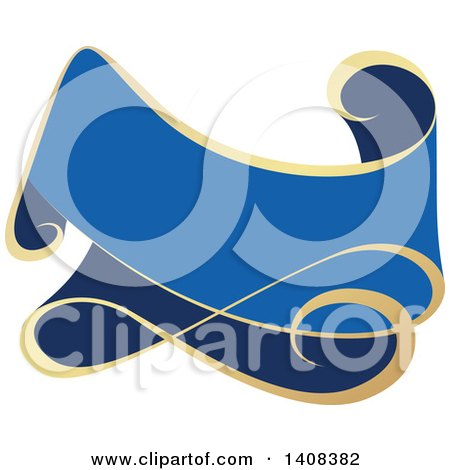 Clipart of a Blue and Gold Luxurious Retail Ribbon Banner Design ...