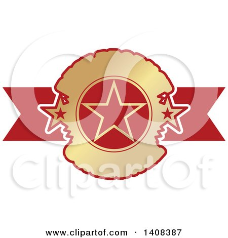 Clipart of a Red and Gold Luxurious Retail Ribbon Banner Design Element - Royalty Free Vector Illustration by dero