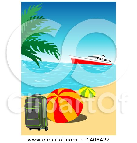 Clipart of a Cruise Ship near an Island with Travel Items on a Tropical Beach - Royalty Free Vector Illustration by dero
