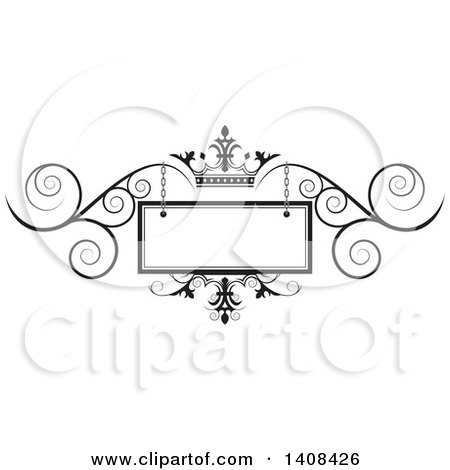 Clipart of a Black and White Wedding Swirl and Crown Design Element - Royalty Free Vector Illustration by Lal Perera